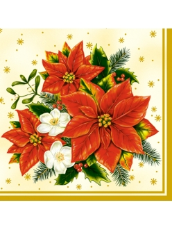 Салфетка новогодняя для декупажа Рождественские цветы, 33х33 см