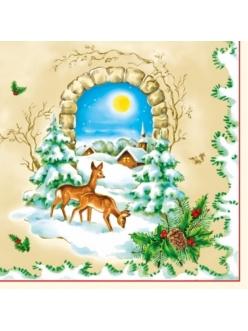 Салфетка новогодняя для декупажа Зимний пейзаж, олени, 33х33 см