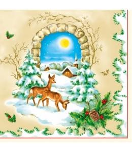 """Салфетка для декупажа SLGW003001 """"Зимний пейзаж, олени"""", 33х33 см"""