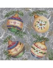 "Салфетка для декупажа SLGW004504 ""Новогодние шары"", 33х33 см"