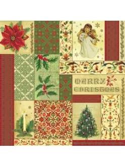 Салфетка новогодняя для декупажа Рождественский коллаж, 33х33 см