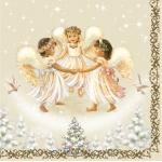 """Салфетка для декупажа SLGW006501 """"Ангелочки и рождественская ёлка"""", 33х33 см"""