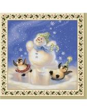 """Салфетка для декупажа SLGW006601 """"Снеговик и пингвины"""", 33х33 см"""