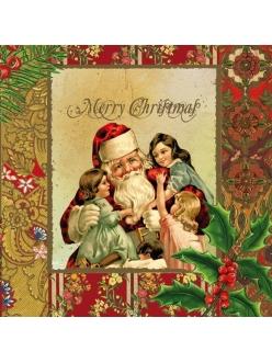 Салфетка для декупажа Санта и дети, винтаж, 33х33 см
