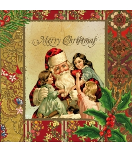 "Салфетка для декупажа SLGW006703 ""Санта и дети, винтаж"", 33х33 см"