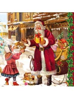 Салфетка для декупажа Санта с подарками, винтаж, 33х33 см
