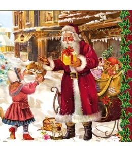 """Салфетка для декупажа SLGW006901 """"Санта с подарками, винтаж"""", 33х33 см"""
