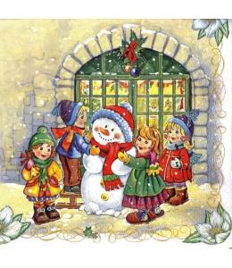"""Салфетка для декупажа SLGW007001 """"Снеговик и дети"""", 33х33 см, POL-MAK"""
