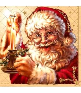 """Салфетка для декупажа SLGW007501 """"Санта со свечей"""", 33х33 см"""