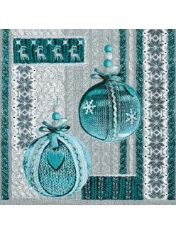 Салфетка новогодняя для декупажа Ёлочные шары синие, 33х33 см