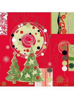 Салфетка новогодняя для декупажа Новогодние ёлки, 33х33 см, POL-MAK