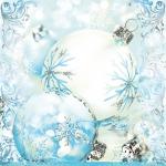 "Салфетка для декупажа SLGW008701 ""Елочные шары, голубой фон"", 33х33 см"