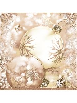 Салфетка новогодняя для декупажа Елочные шары, бежевый фон, 33х33 см