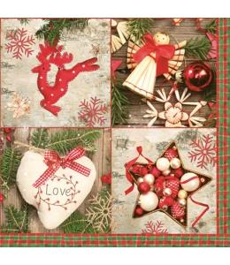 """Салфетка для декупажа SLGW010201 """"Рождественские украшения"""", 33х33 см, POL-MAK"""