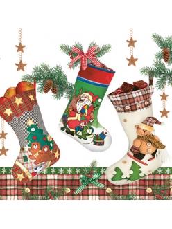 Салфетка новогодняя для декупажа Рождественские носки, 33х33 см