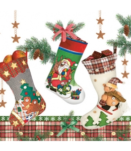 "Салфетка для декупажа SLGW010501 ""Рождественские носки"", 33х33 см"