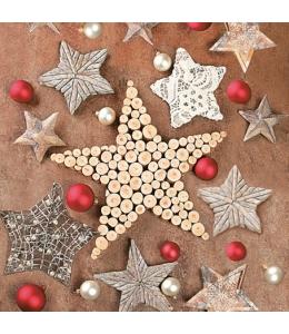 """Салфетка для декупажа SLGW012101 """"Новогодние звезды"""", 33х33 см"""
