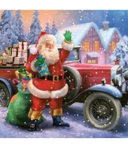 """Салфетка для декупажа SLGW012901 """"Санта на автомобиле"""", 33х33 см, POL-MAK"""