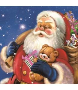 "Салфетка для декупажа SLGW013001 ""Санта с плюшевым мишкой"", 33х33 см"