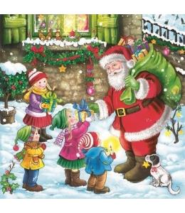 "Салфетка для декупажа SLGW015601 ""Санта с подарками и дети"", 33х33 см, POL-MAK"