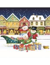"Салфетка для декупажа SLGW015901 ""Снеговики и рождественские подарки"", 33х33 см, POL-MAK"