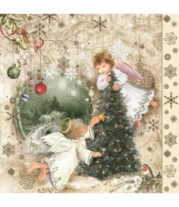 """Салфетка для декупажа SLGW016001 """"Ангелы и Рождественская ёлка"""", 33х33 см, POL-MAK"""