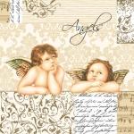 "Салфетка для декупажа SLOG002801 ""Два ангелочка"", 33х33 см"