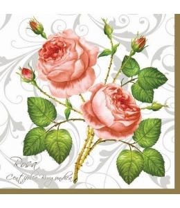 "Салфетка для декупажа SLOG003101 ""Роза и узоры"", 33х33 см, POL-MAK"