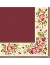 "Салфетка для декупажа SLOG005704 ""Уголок из роз, бордовый"", 33х33 см, POL-MAK"