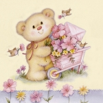 "Салфетка для декупажа SLOG009301 ""Медвежонок с цветами"", 33х33 см"