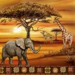 "Салфетка для декупажа SLOG009801 ""Африка, слоны"", 33х33 см"