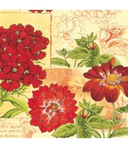 "Салфетка для декупажа SLOG012101 ""Красные цветы"", 33х33 см, POL-MAK"