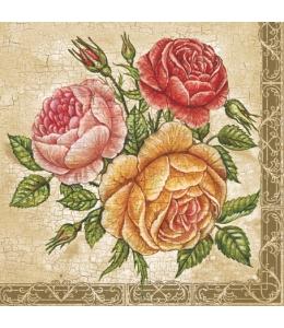 "Салфетка для декупажа SLOG013801 ""Розы на фоне кракле"", 33х33 см"