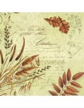 """Салфетка для декупажа SLOG014601 """"Осенние травы и листья"""", салатовый фон, 33х33 см"""