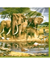 "Салфетка для декупажа SLOG018101 ""Африка, водопой"", 33х33 см"