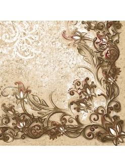 Салфетка для декупажа Узоры на коричневом фоне, 33х33 см