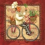 """Салфетка для декупажа SLOG020302 """"Повар на велосипеде, красный фон"""", 33х33 см"""