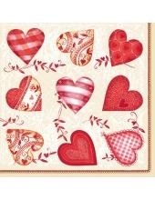 "Салфетка для декупажа SLOG022801 ""Сердечки с орнаментом"", 33х33 см"