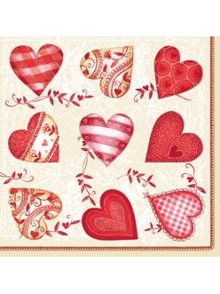 Салфетка для декупажа Сердечки с орнаментом, 33х33 см