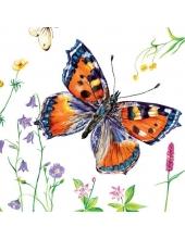 "Салфетка для декупажа SLOG025801 ""Бабочки и цветы"", 33х33 см"