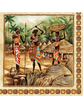 """Салфетка для декупажа SLOG026001 """"Африканская деревня"""", 33х33 см"""