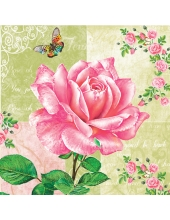 """Салфетка для декупажа SLOG027101 """"Роза и бабочки"""", 33х33 см, POL-MAK"""