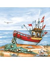 "Салфетка для декупажа SLOG027301 ""Море, кораблик"", 33х33 см, Германия"
