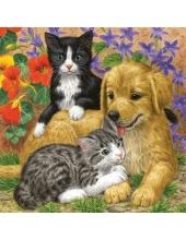 "Салфетка для декупажа SLOG027601 ""Котята и щенки"", 33х33 см, POL-MAK"