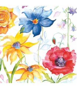 """Салфетка для декупажа SLOG028201 """"Цветы, акварель"""", 33х33 см"""