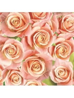 Салфетка для декупажа Розы оранжевые, 33х33 см, POL-MAK
