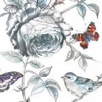 "Салфетка для декупажа SLOG030401 ""Цветы, птичка, бабочка"", 33х33 см"