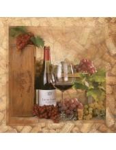 """Салфетка для декупажа SLOG031001 """"Вино, виноград"""", 33х33 см"""