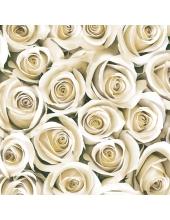 "Салфетка для декупажа SLOG031801 ""Розы белые"", 33х33 см, POL-MAK"