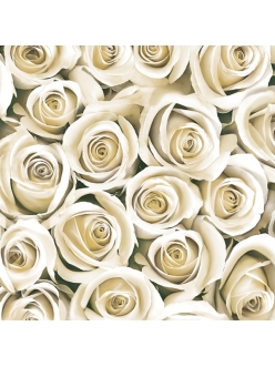 Салфетка для декупажа Розы белые, 33х33 см, POL-MAK